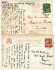 1917-33-2-x-WALLS-SHETLAND-POSTMARKS-ON-PPCs-TO-LERWICK-amp-ELGIN-2-DIFF-RATES