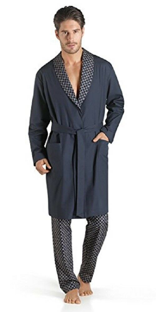 HANRO mens cotton Aristide wrap around Robe 075423 NWT size M retails