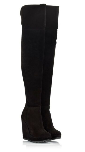Pedro Garcia Vanne black suede Over the knee boots Wms size Euro 38 US 8