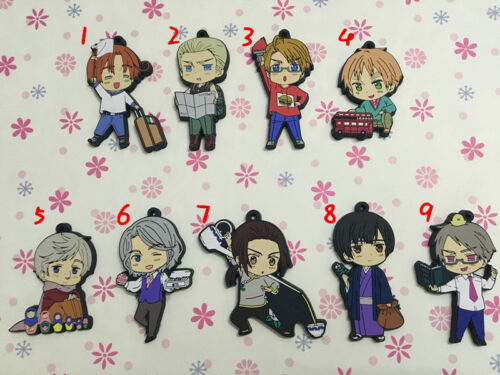 T1280 Anime Axis Powers Hetalia rubber Keychain Key Ring Rare straps cosplay   A