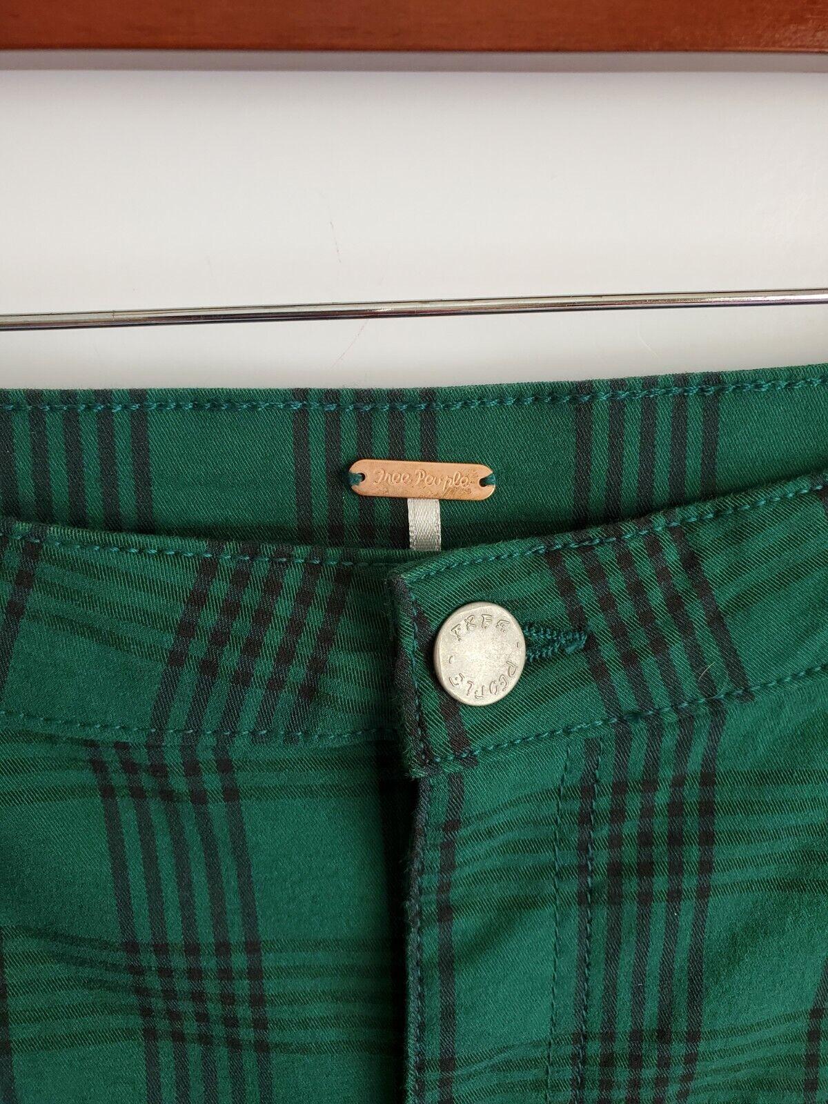 Free People  Women's Green Plaid Skinny Pants, Si… - image 2