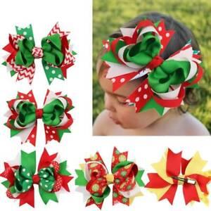 Christmas-Ribbon-Clips-Barrette-Hair-Bow-Bowknot-Headwear-Girls-Hair-Accessories