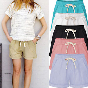 AU-Womens-Loose-Shorts-Trousers-Beach-Drawstring-Waist-Hot-Pants-Plus-Size-10-24