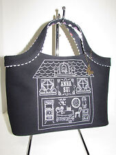 ANNA SUI AUTH Black Canvas Metallic Design Pattern Tote Handbag NEW