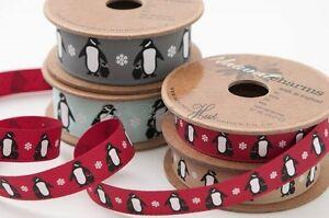 5 Mtrs 2 Christmas Ribbon Printed Penguins Art # 1446 Berisfords Red /& Grey 1