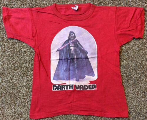 Vtg 1977 Darth Vader Star Wars Iron On T-Shirt Red 70s Sci Fi Mo