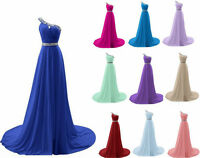 HOT Stock One Shoulder Long Bridesmaid Prom Dress Formal Party Custom Size 6-22+