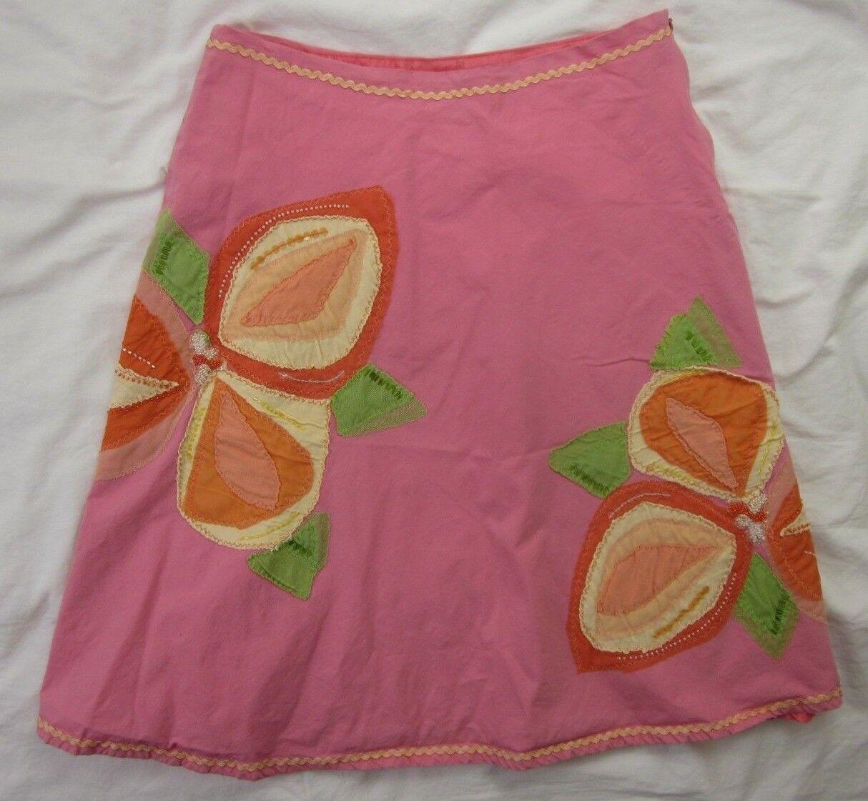 BASIL & MAUDE Anthropologie Floral Appliqué Embellished Flower Swing Skirt SZ 8