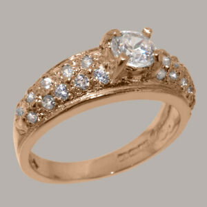 Solid-14k-Rose-Gold-Cubic-Zirconia-Womens-Band-Ring-Sizes-J-to-Z