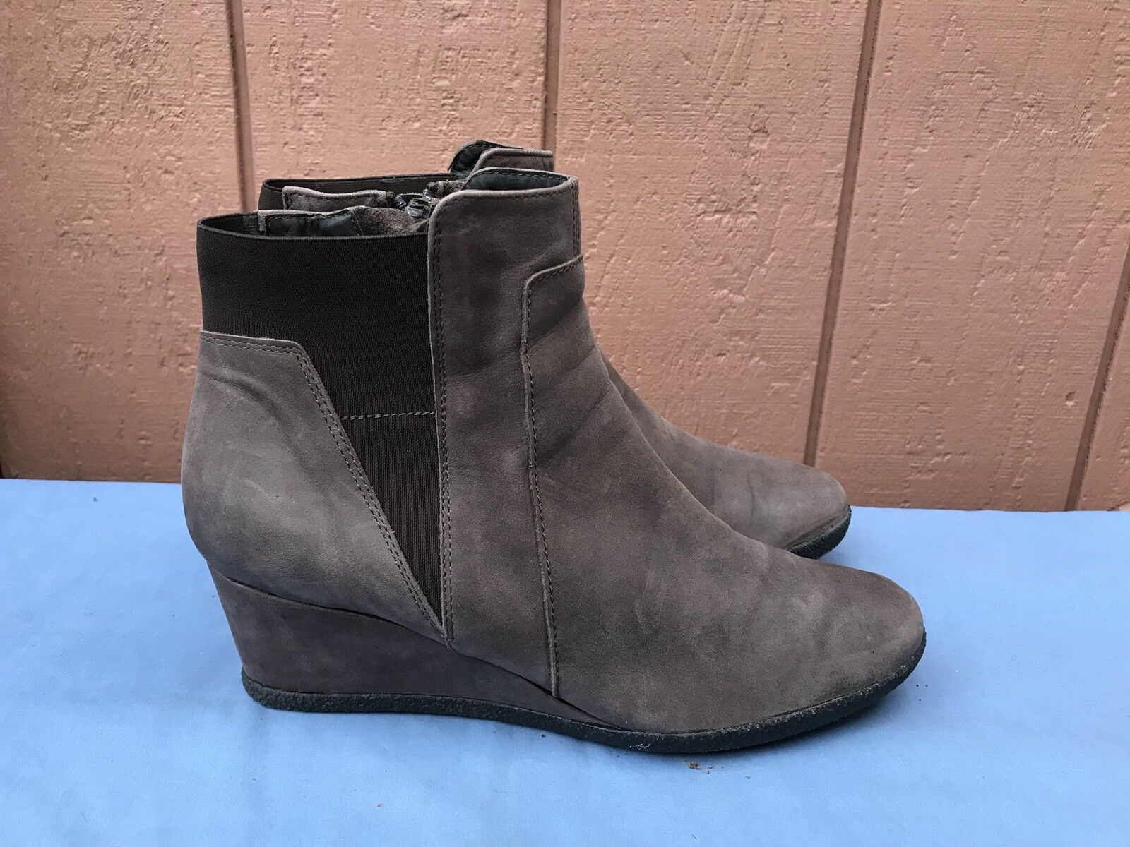 EUC Geox Respira Women's Size 42 US 11 Brown Leather Wedge Ankle Boots Shoes A4