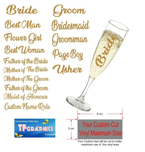 Wedding Bridal Party Glasses Personalised Champagne Flute Glasses and Vinyl
