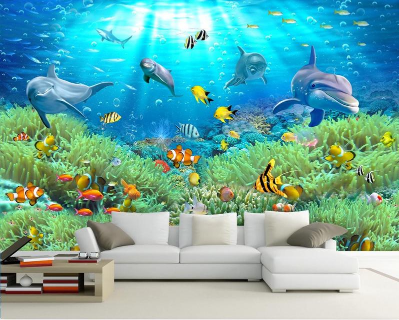 3D Grün Seaweed Dolphin 100 Paper Wall Print Wall Decal Wall Deco Indoor Murals