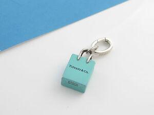 892a8a6eeb Tiffany Blue Enamel Shopping Bag Charm Pendant 4 Necklace Bracelet ...