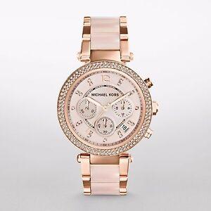 Michael-Kors-Original-MK5896-Women-039-s-Parker-Rose-Gold-Blush-Crystal-Set-Watch