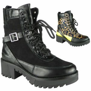 Womens-Ladies-Ankle-Boots-Punk-Goth-Lace-Up-Chunky-Heel-Croc-Comfy-Shoes-Size