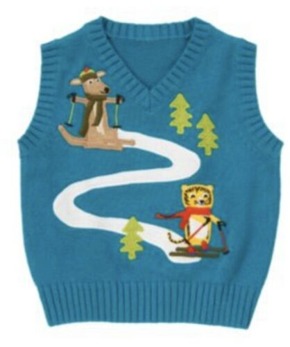 Gymboree Ski School 2T 4T 5T Sweater Vest Pull Over Kangaroo Navy Striped