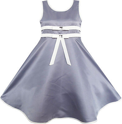 Sunny Fashion Girls Dress Gray Elegant Wedding Flower Girl Pageant Size 4-12