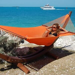 Orange Carribbean Jumbo Hammock 2 Person Hand Woven Garden Patio Yard Furniture