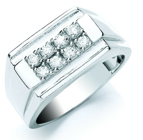 Men's Signet Ring Gents Solid Sterling Silver Engagement Cubic Zirconia