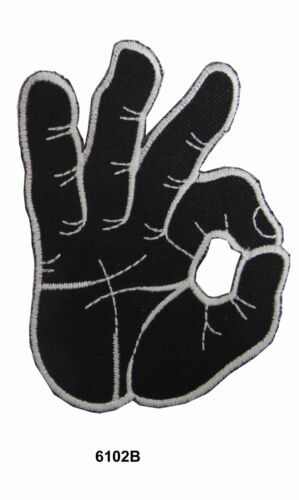 #6102B OK Okay Hand Sign Signal Logo Embroidery Iron On Applique Patch--Black