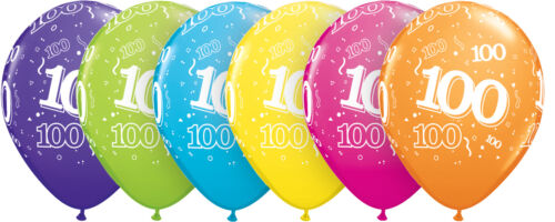 "100th Birthday Party Balloons 11/"" {Qualatex} Pack of 6 Helium Quality//Age 100"