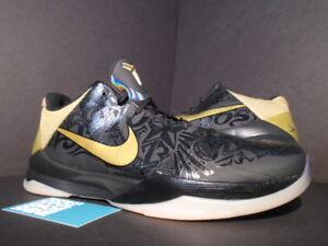 a2af7f1949ed 2010 Nike Zoom KOBE V 5 BIG STAGE AWAY HOME BLACK GOLD WHITE 386429 ...