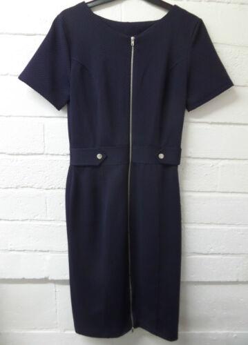 Womens Ladies New Long Smart Formal Midi Zip Up Waffle Bodycon Dress UK 6-16