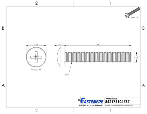 10-32 Machine Screws Pan Head Phillips Drive Stainless Steel