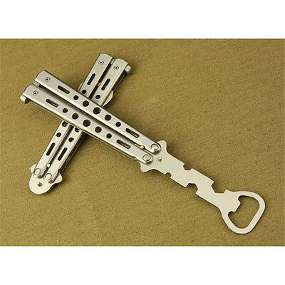 Silver Practice Balisong Butterfly Trainer Dull Toy style Beer bottle Opener