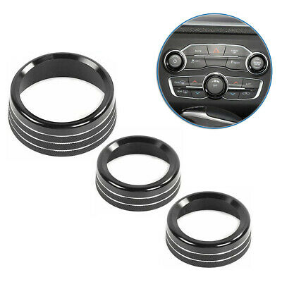 3pcs AC Switch Volume Button Trim Ring Knob Covers for Dodge Ram 2013-2018 BLACK