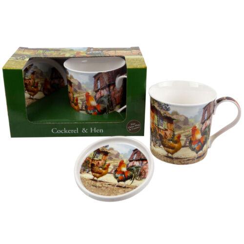New The Leonardo Collection Cockerel /& Hen China Mug and Coaster Set