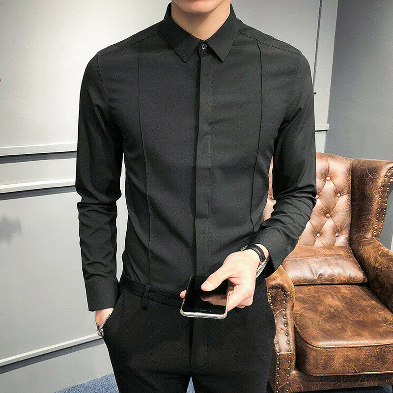Men's New Long Sleeves Slim Fit Solid color Shirt Trend Leisure Dress Shirt Z21