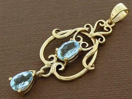 PE040- SUPERB 9ct SOLID gold NATURAL Topaz Filigree Pendant Victorian Scrolls