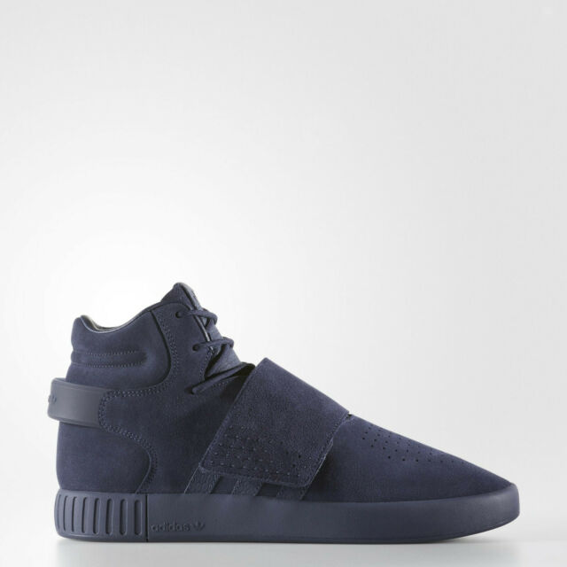 Adidas Mens Tubular Invader Strap Hi Top Shoes Trainers Blue BY3631 UK 7 to 12
