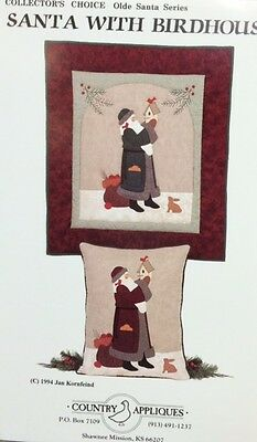SANTA WITH BIRDHOUSE-8th in Olde World Santa Series quilt pattern wall hanging