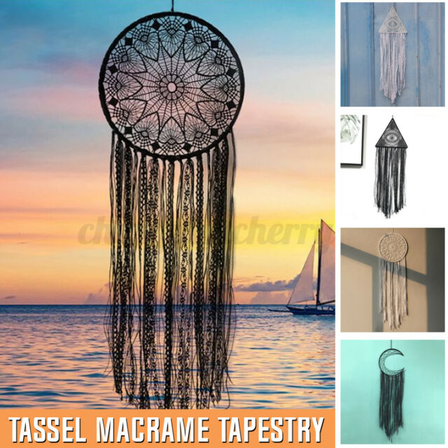 Bohemian Tapestry Cotton Woven Tassel Macrame Knitted Rope Wall Hanging Decor AU