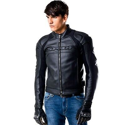 Spidi Darknight Black Motorcycle Sport Riding Jacket - Premium Italian Leather