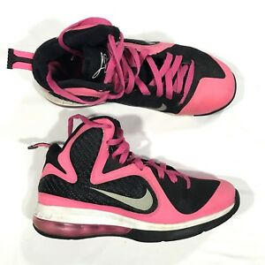 hot sale online 7a73f beea8 Details about Nike Zoom Lebron James 9 GS Laser Pink Black Basketball Shoes  Sz 7Y 472664-600