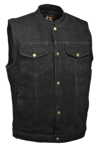 Mens Black Denim Motorcycle Vest Gun Pocket SOA Anarchy Style Snap Front Closure