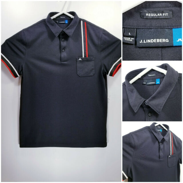 J LINDEBERG Mens Large Regular Fit Golf Shirt Polo Black