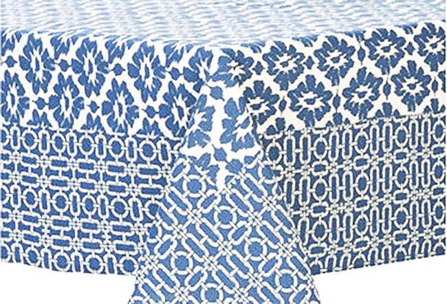 Ikat bleu blanc Rectangular Tablecloth 100% Cotton 60  x 90