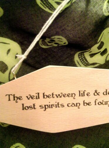NEW GOTHIC WOODEN SIGN COFFIN SHAPED HAND MADE ECO PRODUCT = VEIL BETWEEN LIFE