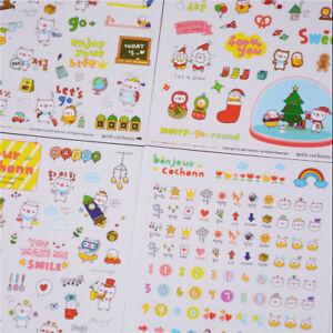 6Sheet-Lovely-Pig-Transparent-Calendar-Diary-Book-Stickers-ScrapbookDecorGift-S