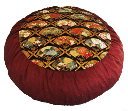 Meditation Cushion Buckwheat Zafu Pillow Premium Rare Find Fabric