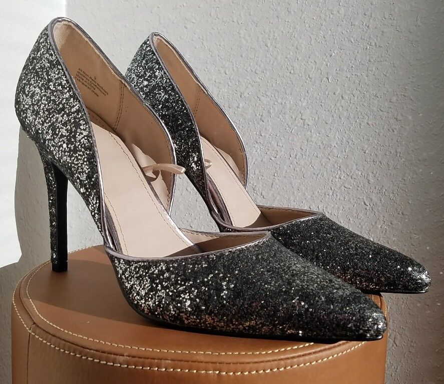 NWOT Express Silver Sequin D'orsay Pointy Stiletto Heels Party Shoes Womens Sz 9
