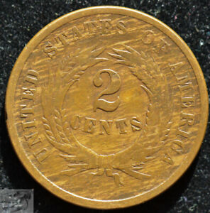 1864 Two Cent Piece, Very Good Condition, Nice Color Planchet, Free Ship, C5183