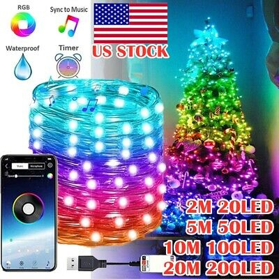 Christmas Tree String Lighting RGB Lights 2M-20M LED Music Decor Personalized US