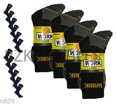 12 Pairs Men's Chunky Work Boot Socks, Cushion Sole Reinforced Toe, UK Size 6-11
