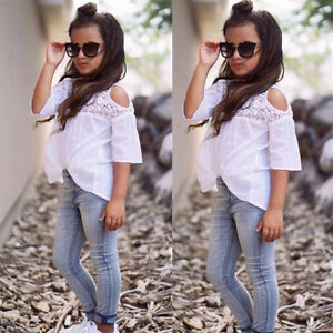 67eb2bc6329f US Stock Toddler Kids Girl Outfit Lace Top T-shirt+Denim Jeans Pants ...