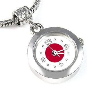 Japan-Flag-Silver-Dangle-European-Spacer-Charm-Bead-Watch-For-Bracelet-EBA296
